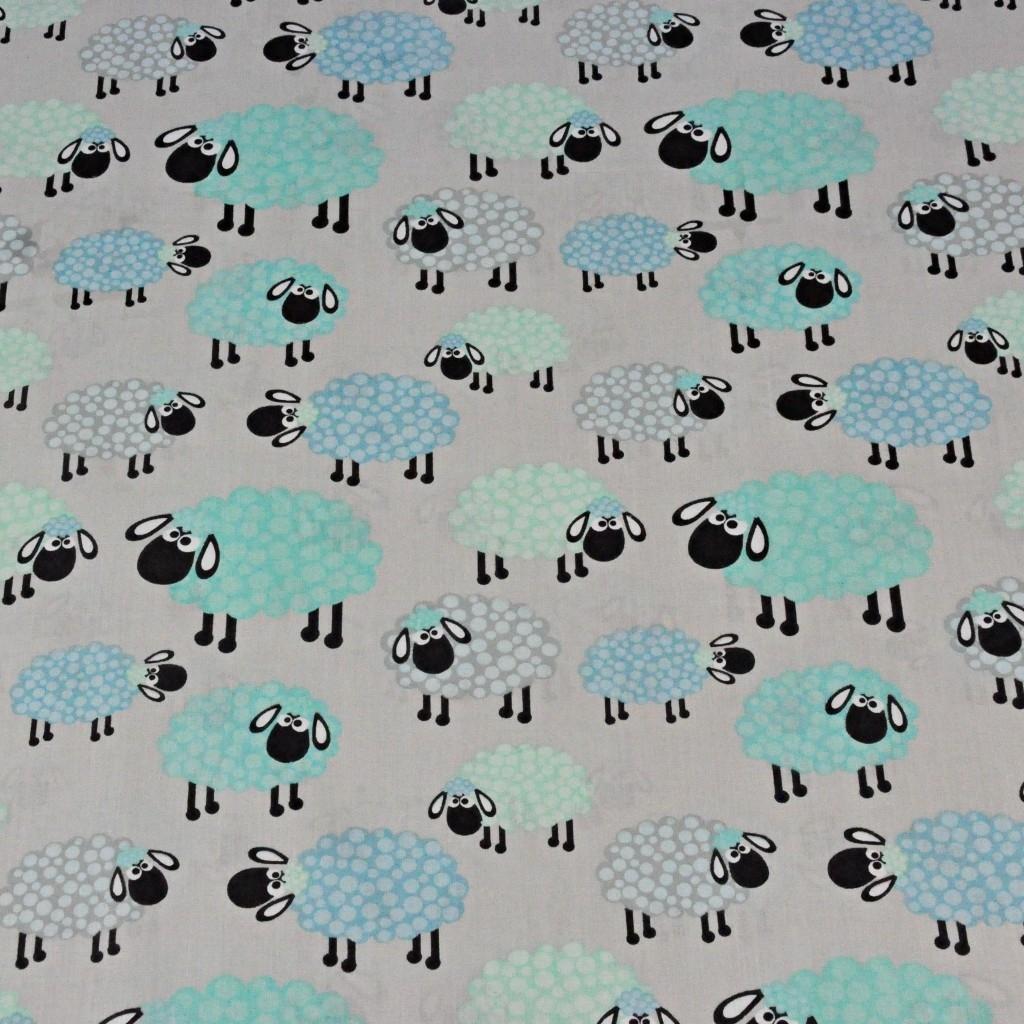 owieczki niebiesko miętowe w kropeczki na szarym tle