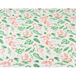 flamingi w liściach tropikalnych na białym tle