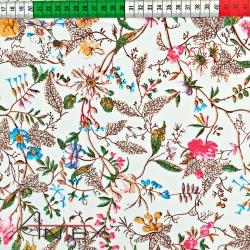 Tkanina w kwiaty pnącza drobne kolorowe na białym tle