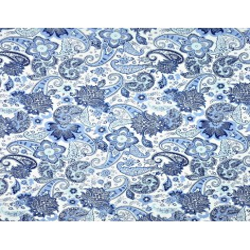 Tkanina w kwiaty tureckie niebieskie na białym tle