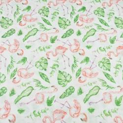 Tkanina Muślin bawełniany flamingi z liśćmi na białym tle