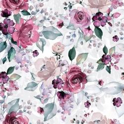 Kwiaty duże róże różowo fioletowe z zielonymi listkami na białym tle