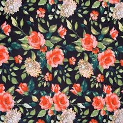 kwiaty róże na czarnym tle