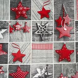 Wzór świąteczny patchwork gwiazdki czerwone na szarej desce