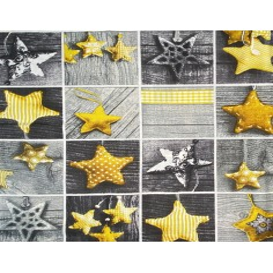 Wzór świąteczny patchwork gwiazdki żółte na szarej desce