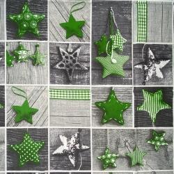 Wzór świąteczny patchwork gwiazdki zielone na szarej desce
