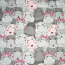 Tkanina hipopotamy różowo szare