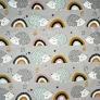jeżyki szaro miętowe z tęczą na szarym tle
