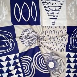 Tkanina Patchwork wzorzysty granatowo biało szary