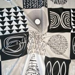 Tkanina Patchwork wzorzysty czarno biało szary