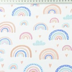 Tkanina tęcze niebiesko-beżowe na białym tle