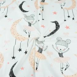 baletnice duże morelowo czarne z księżycami na białym tle