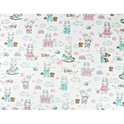 króliki różowo turkusowo szare z chmurkami na białym
