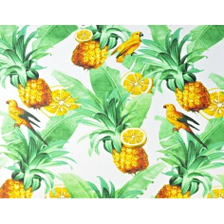 liście z papugami i ananasami na białym tle - 220cm
