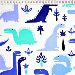 Bawełna dinozaury niebieskie na białym tle