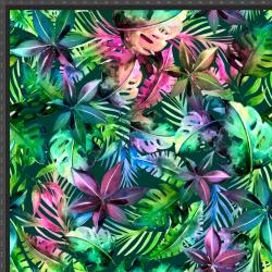 Dresówka z pętelką dżungla kolorowa na ciemno zielonym tle  - druk cyfrowy