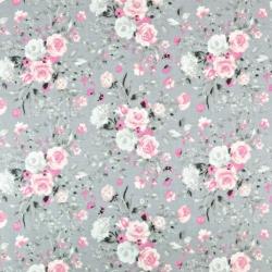 kwiaty bukiety różowe na szarym tle