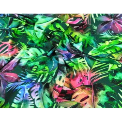 Dzianina bawełniana Jersey druk cyfrowy - dżungla kolorowa na ciemno zielonym tle
