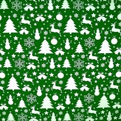 wzór świąteczny choinki i bałwanki białe na zielonym tle