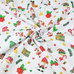 wzór świąteczny mikołaje z prezentami na białym tle
