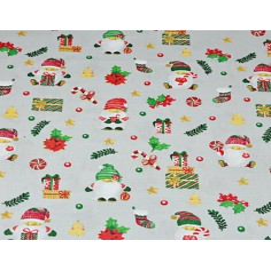 wzór świąteczny mikołaje z prezentami na szarym tle