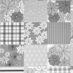 Bawełna Patchwork w kwiaty biało szaro czarny