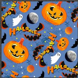 Dzianina bawełniana Jersey druk cyfrowy - dynie halloween na niebieskim tle