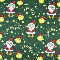 wzór świąteczny mikołaje z bombkami na ciemno zielonym tle