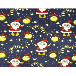 wzór świąteczny mikołaje z bombkami na granatowym tle