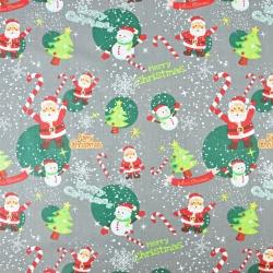 wzór świąteczny mikołaje z bałwankami na szarym tle