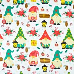 wzór świąteczny kolorowe skrzaty z latarenkami na białym tle