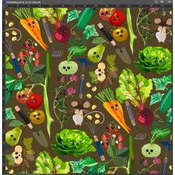 Dzianina Jersey druk cyfrowy - warzywa na straganie na brązowym tle