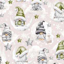 wzór świąteczny skrzaty z gwiazdkami zielone na beżowym tle