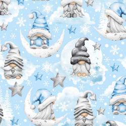 wzór świąteczny skrzaty z gwiazdkami szaro niebieskie na niebieskim tle