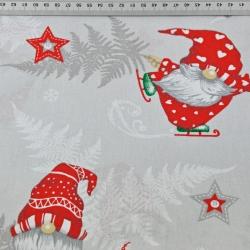 wzór świąteczny skrzaty z liśćmi paproci na szarym tle
