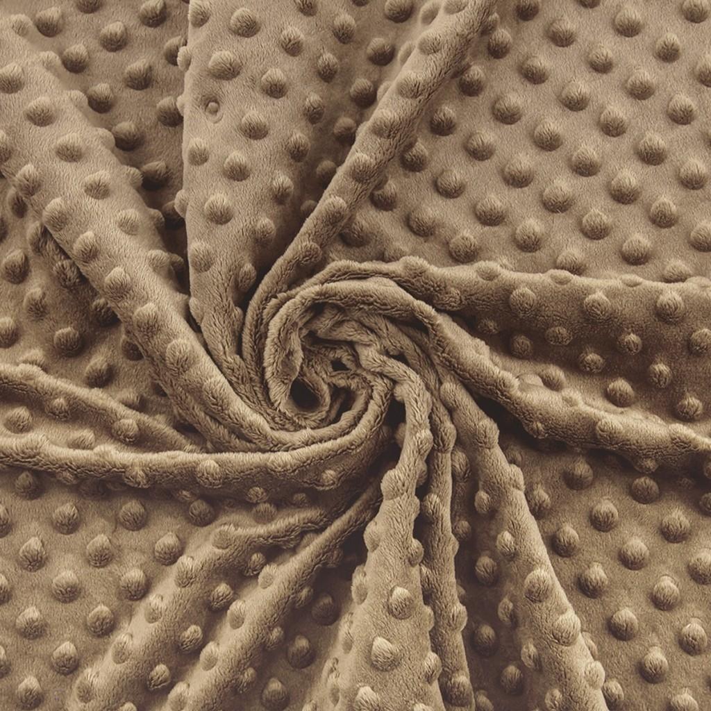 Materiał Minky Premium kamienny brąz (Vintage khaki)