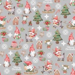 wzór świąteczny skrzaty z myszkami na szarym tle