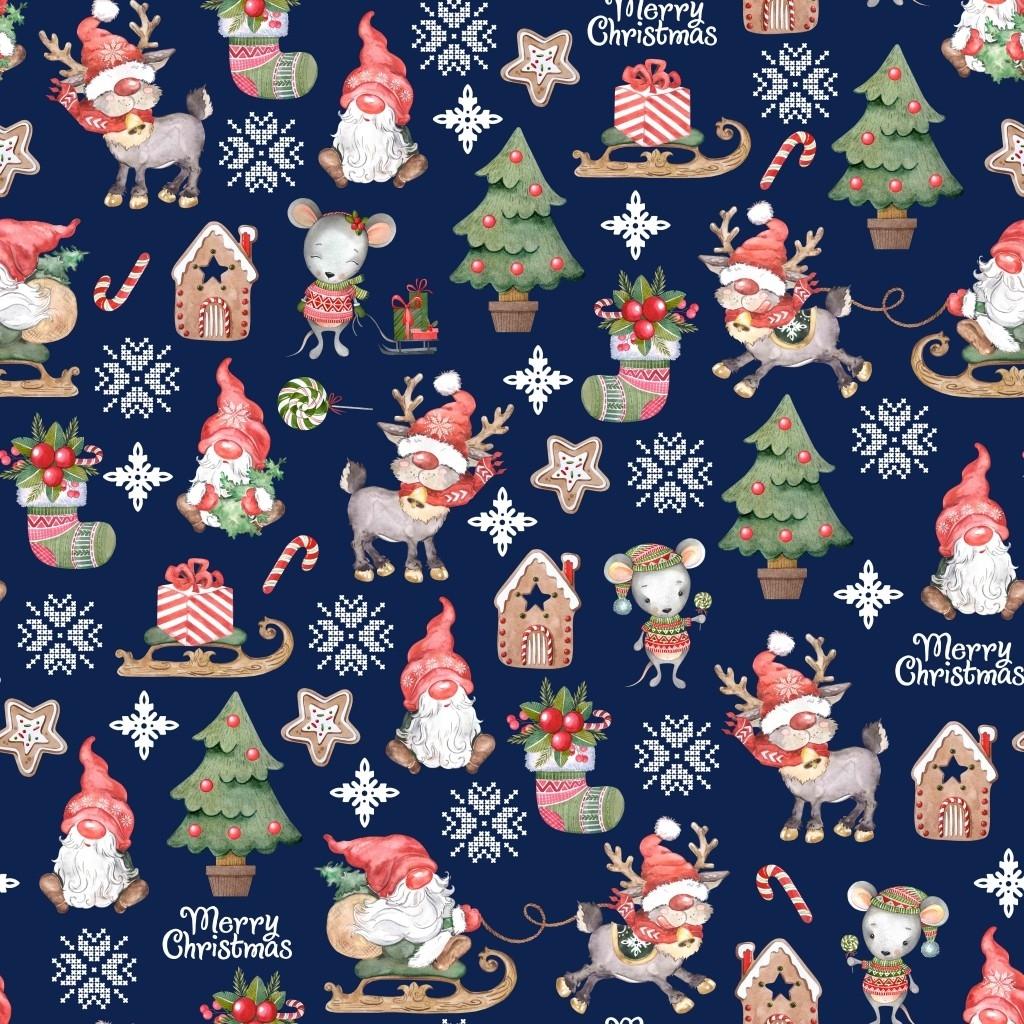 wzór świąteczny skrzaty z myszkami na granatowym tle