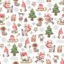 wzór świąteczny skrzaty z myszkami na białym tle