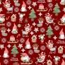 wzór świąteczny skrzaty z myszkami na czerwonym tle