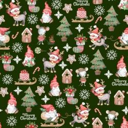 wzór świąteczny skrzaty z myszkami na zielonym tle