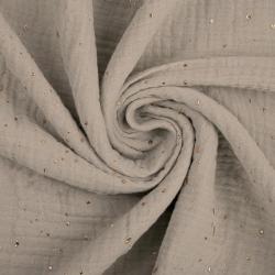 Tkanina Muślin bawełniany double gauze szaro beżowy (Rainy day) w złote kropki