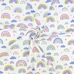 Tkanina tęcze niebiesko-różowe na białym tle