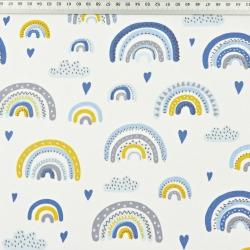 Tkanina tęcze niebiesko-żółte na białym tle
