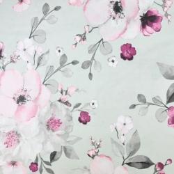 kwiaty jabłoni duże różowo szare na szarym tle