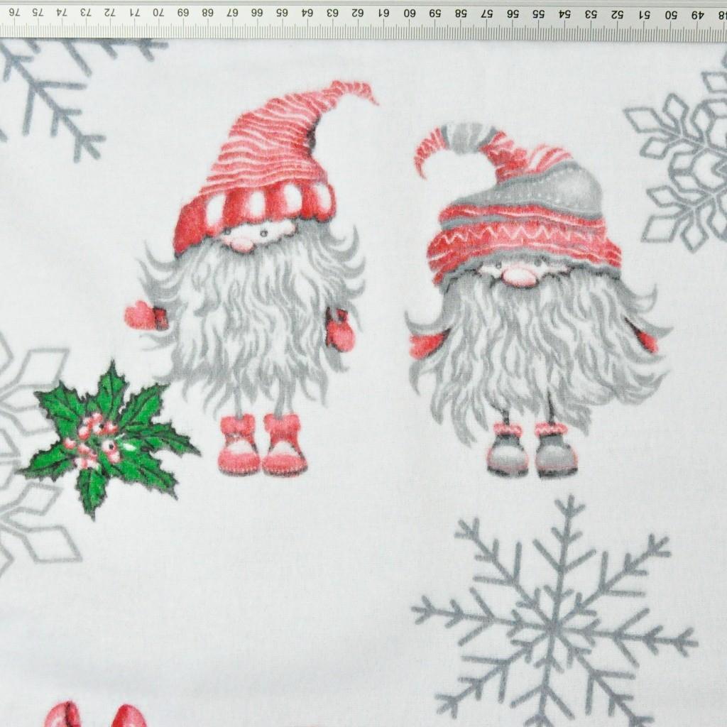 Tkanina Flanela wzór świąteczny skrzaty w parach ze śnieżynkami na białym tle