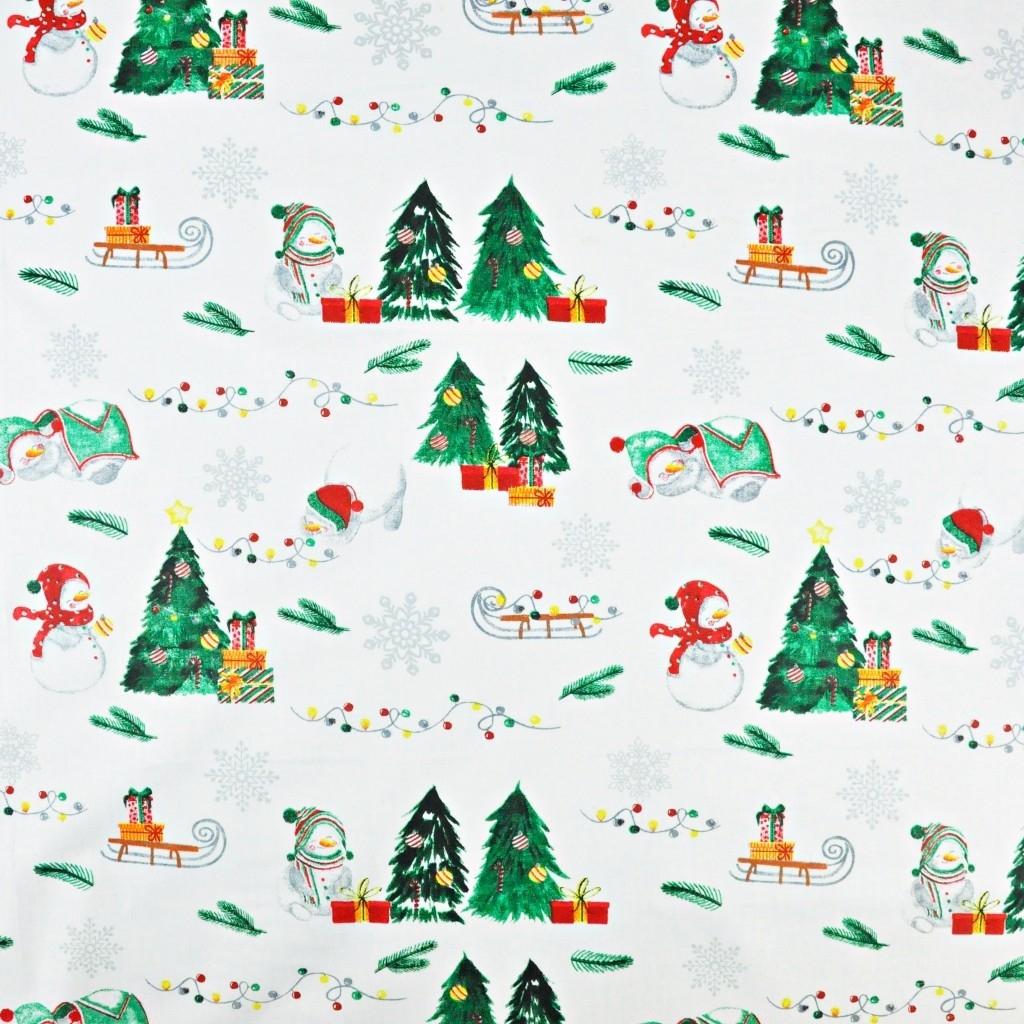 wzór świąteczny bałwanki z sankami na białym tle