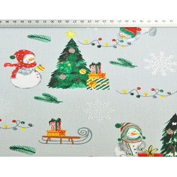 wzór świąteczny bałwanki z sankami na szarym tle