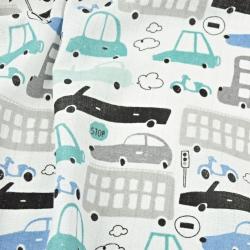Tetra bawełniana samochody szaro turkusowe na białym tle