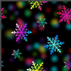 śnieżynki kolorowe na czarnym tle